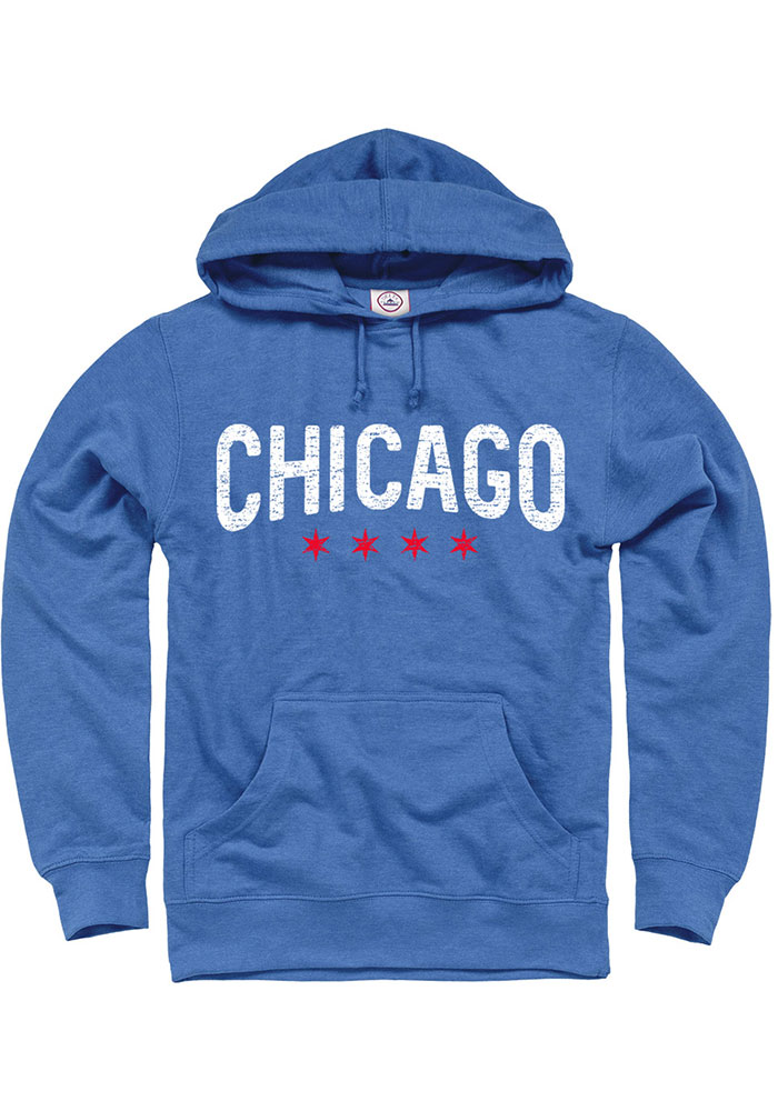 Chicago Blue Wordmark Arch Long Sleeve French Terry Hooded Sweatshirt - Image 1