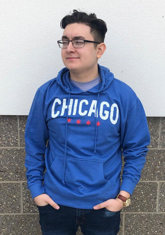 Chicago Blue Wordmark Arch Long Sleeve French Terry Hooded Sweatshirt - Image 2