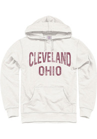 Cleveland Oatmeal Wordmark Arch Long Sleeve French Terry Hooded Sweatshirt