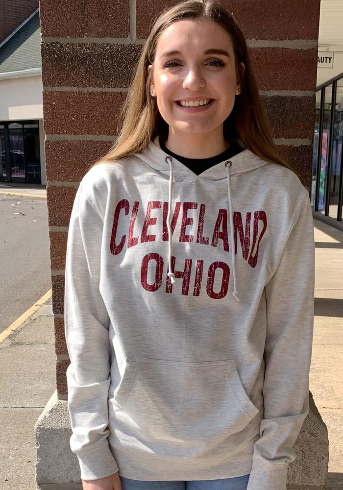 Cleveland Oatmeal Wordmark Arch Long Sleeve French Terry Hooded Sweatshirt - Image 2