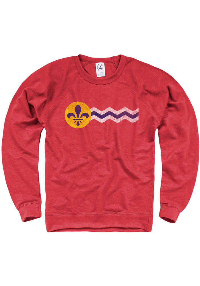 St Louis Red City Flag Lon Sleeve French Terry Crew Sweatshirt - Image 1