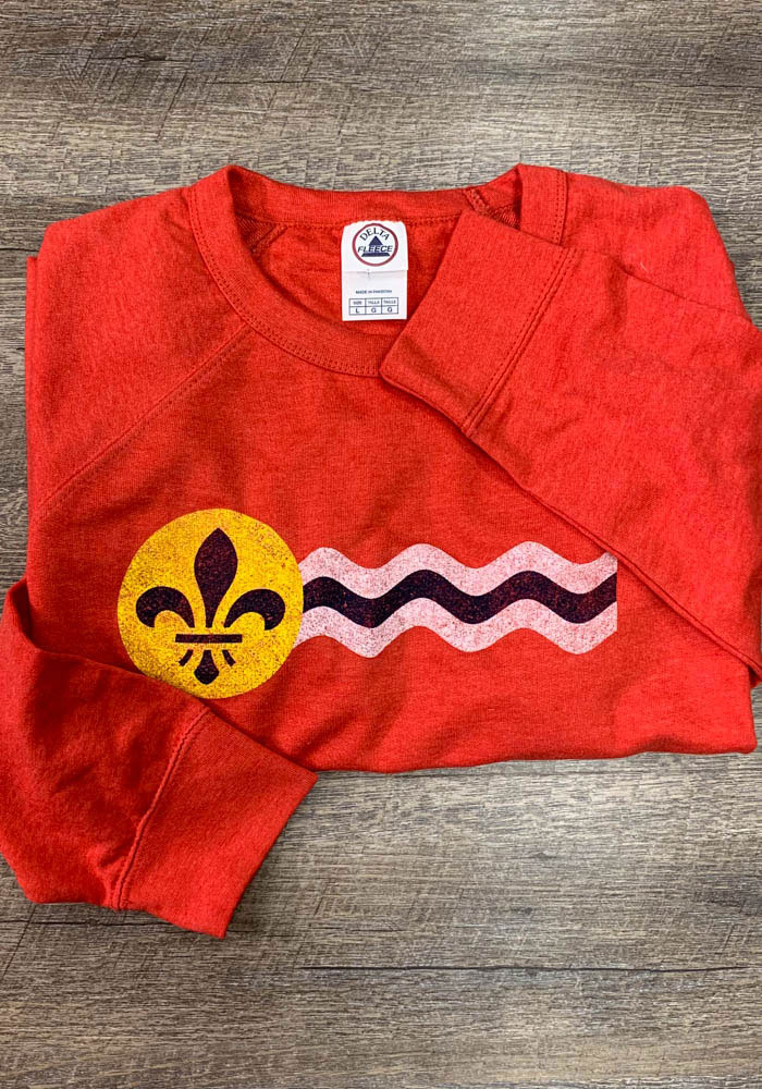 St Louis Red City Flag Lon Sleeve French Terry Crew Sweatshirt - Image 2