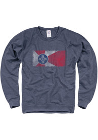 Wichita Wichita Flag Crew Sweatshirt - Navy Blue