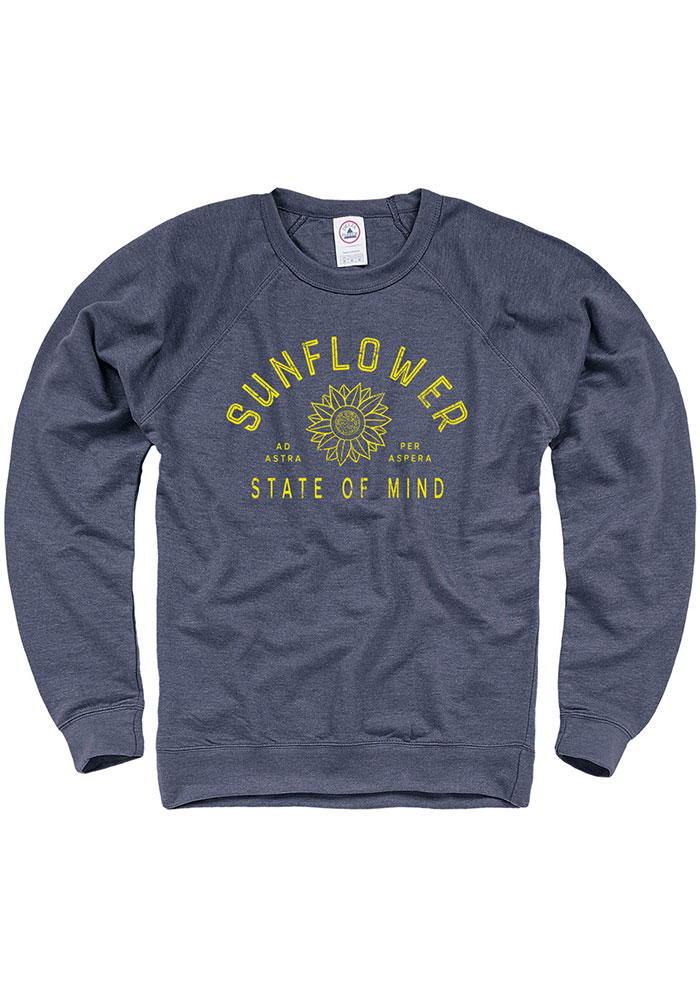 Kansas Navy Blue Sunflower State of Mind Long Sleeve French Terry Crew Sweatshirt - Image 1