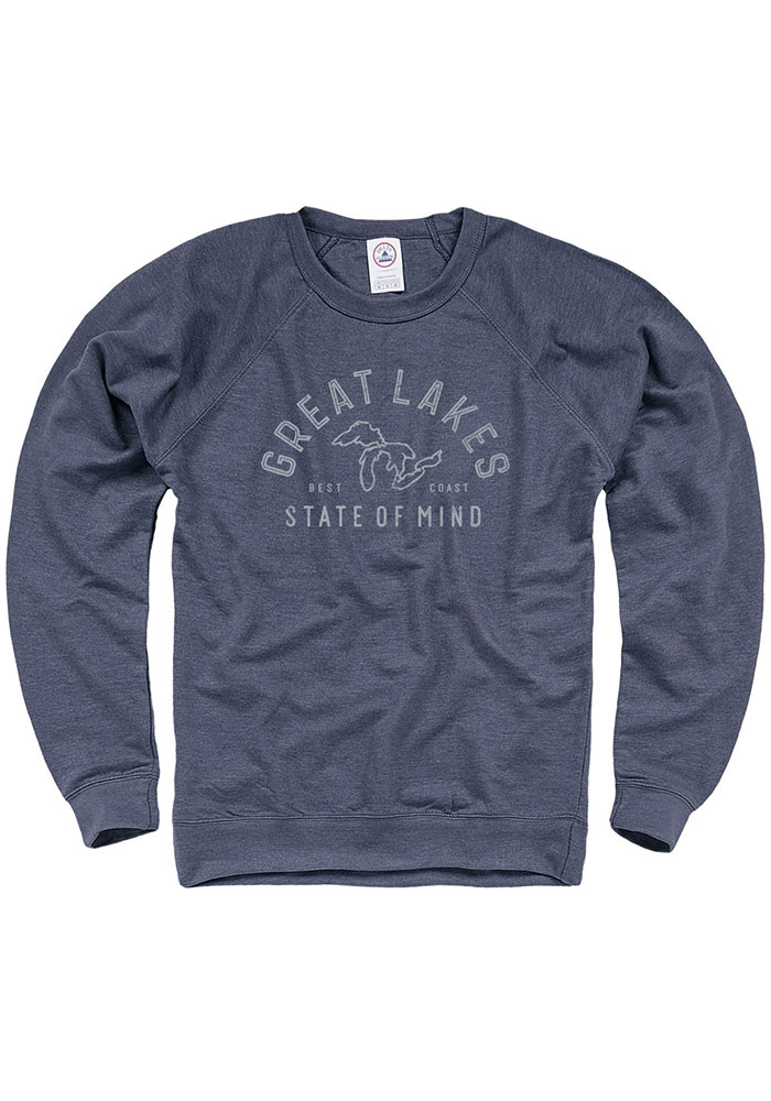 Michiga Navy Blue Great Lakes State of Mind Long Sleeve French Terry Crew Sweatshirt - Image 1