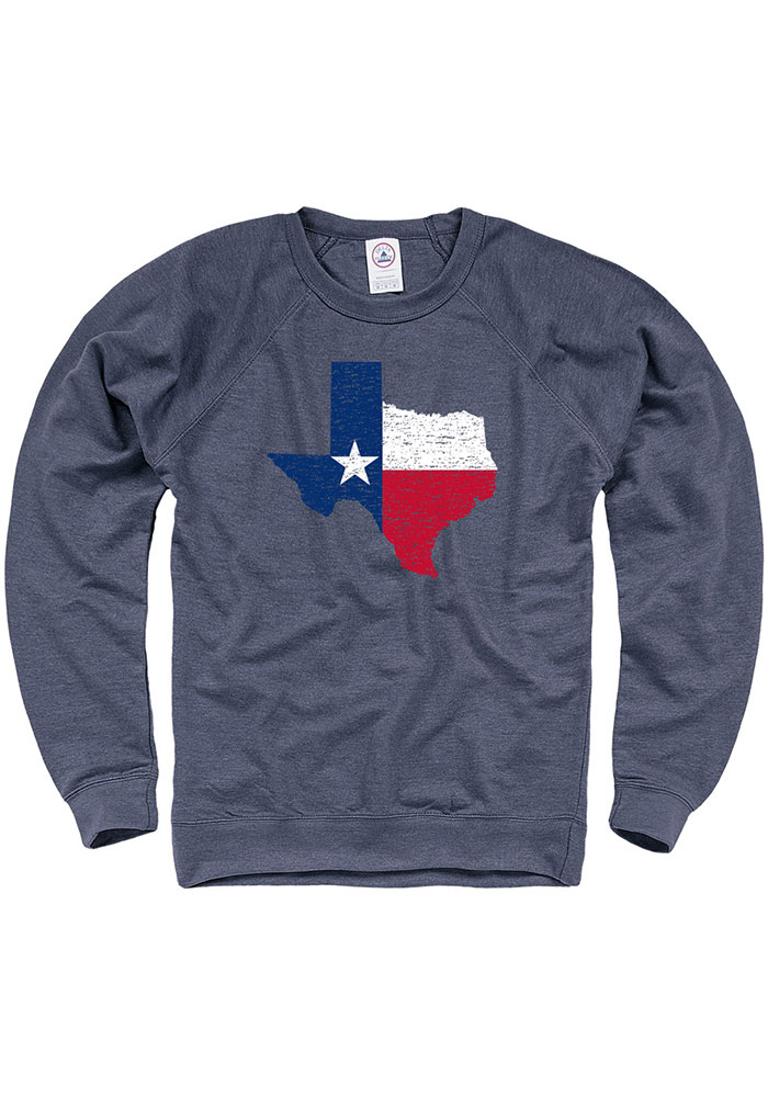 Texas Navy Blue State Flag Long Sleeve French Terry Crew Sweatshirt - Image 1