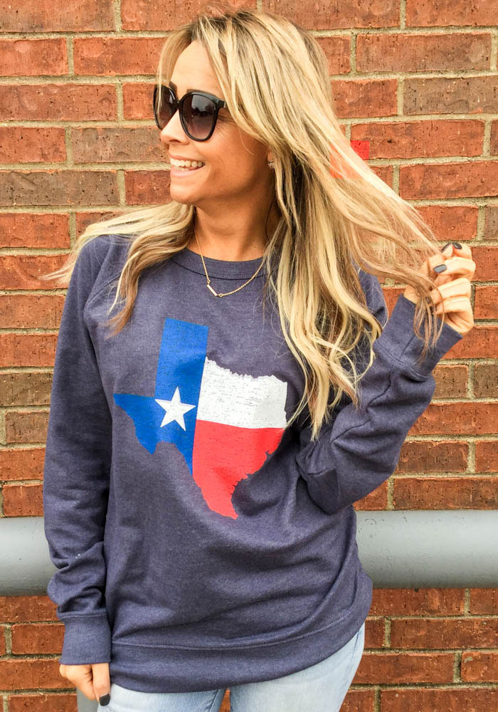 Texas Navy Blue State Flag Long Sleeve French Terry Crew Sweatshirt - Image 2