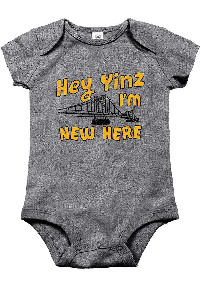 Pittsburgh Baby Grey New Here Short Sleeve One Piece - Image 1