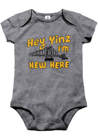 Pittsburgh Baby Grey New Here Short Sleeve One Piece