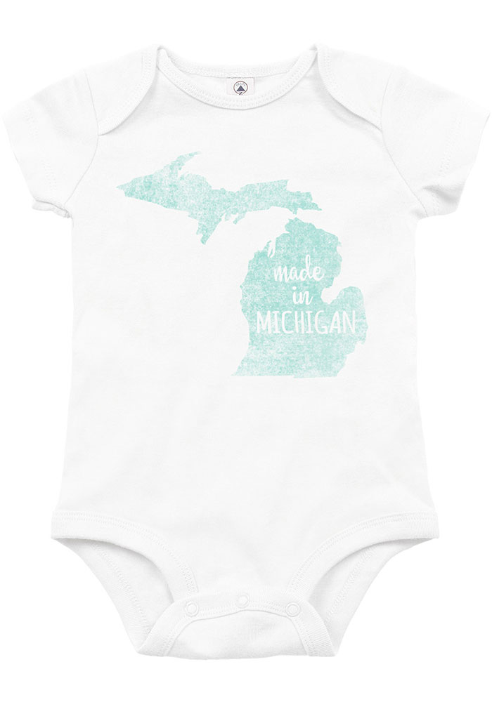 Michigan Baby White Made In Short Sleeve One Piece - Image 1