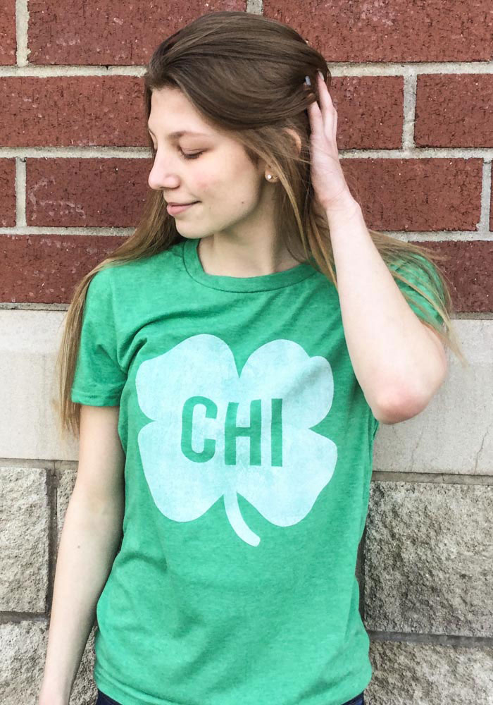 Chicago Green Shamrock Initials Short Sleeve Fashion T Shirt - Image 2