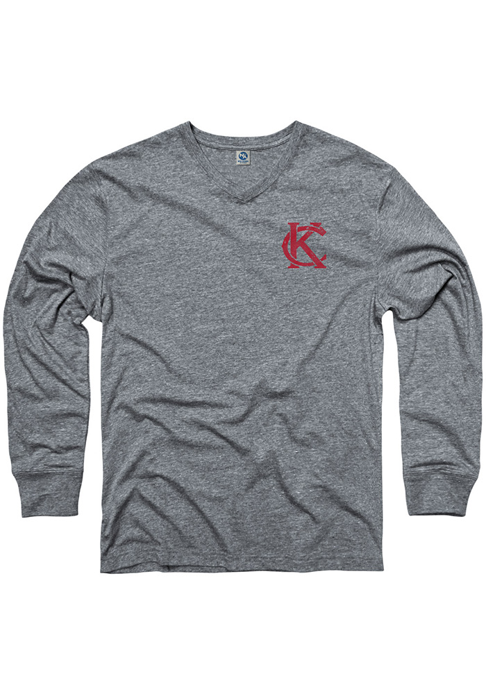 Kansas City Grey Monogram Long Sleeve V-Neck T Shirt - Image 1