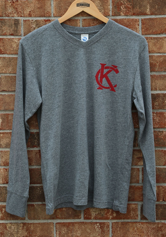 Kansas City Grey Monogram Long Sleeve V-Neck T Shirt - Image 2