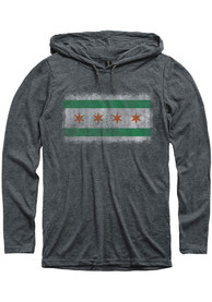 Chicago Dark Grey Irish Flag Long Sleeve Light Weight Hood