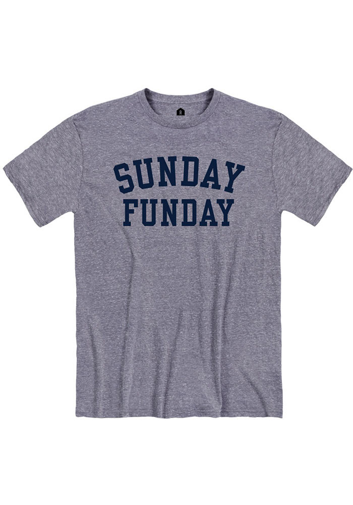 Navy Blue Sunday Funday Short Sleeve Fashion T Shirt - Image 1