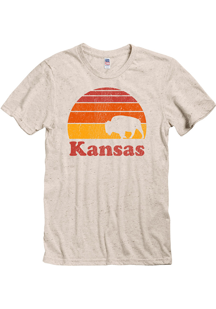 Kansas Oatmeal Sunset Buffalo Short Sleeve T Shirt
