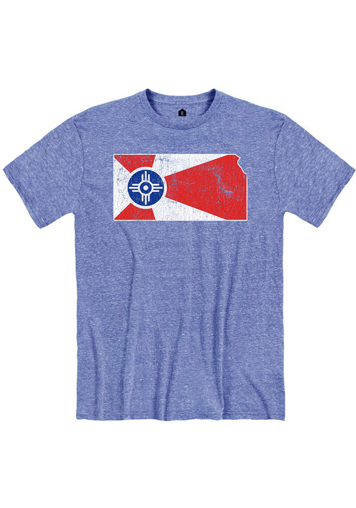 Wichita Blue City Flag State Short Sleeve Fashion T Shirt - Image 1