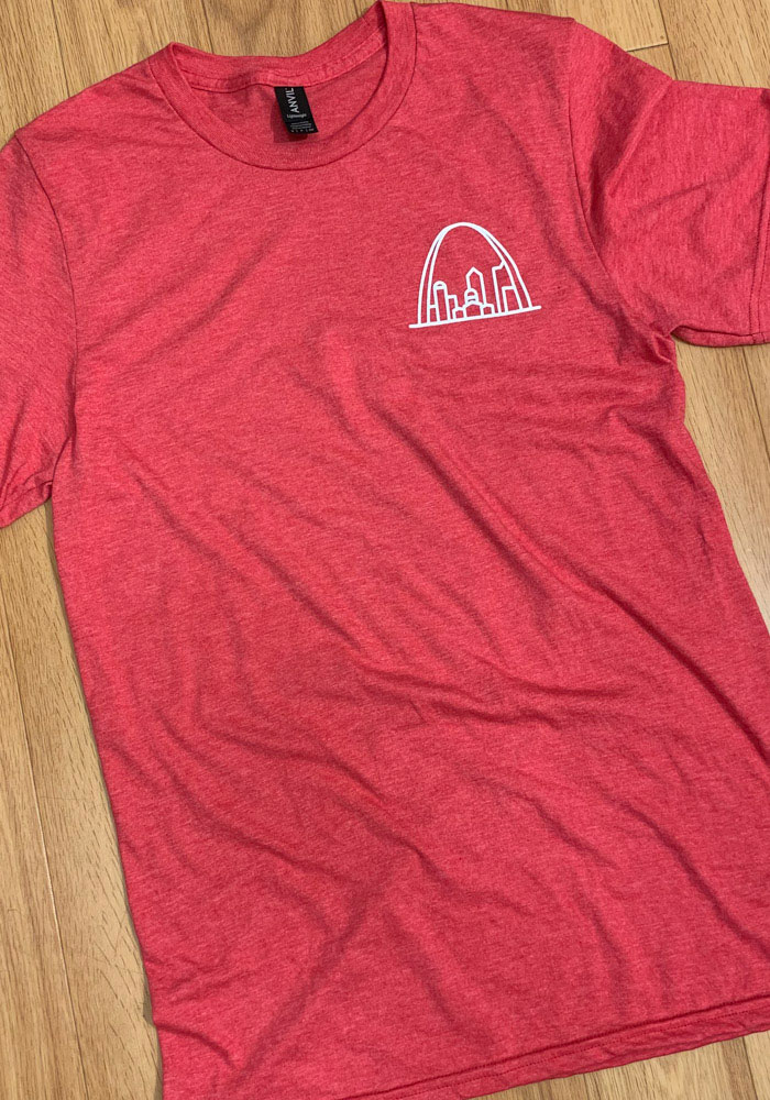 St Louis Red Arch Skyline Short Sleeve T Shirt - Image 2
