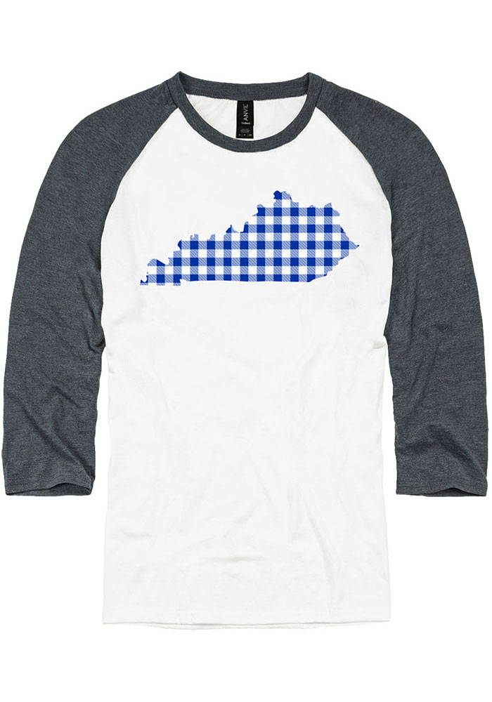 Kentucky White Buffalo Plaid State Raglan 3/4 Sleeve T Shirt - Image 1