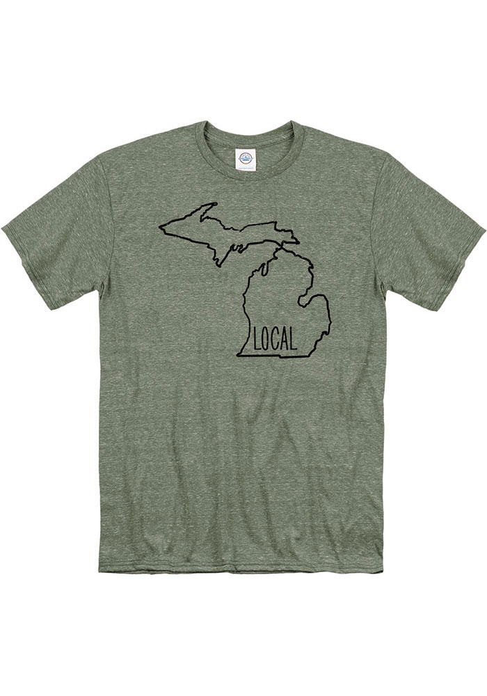 Michigan Olive Green Local State Short Sleeve T Shirt