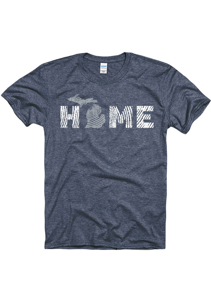 Michigan Navy Blue Wood Grain Home Short Sleeve Fashion T Shirt - Image 1