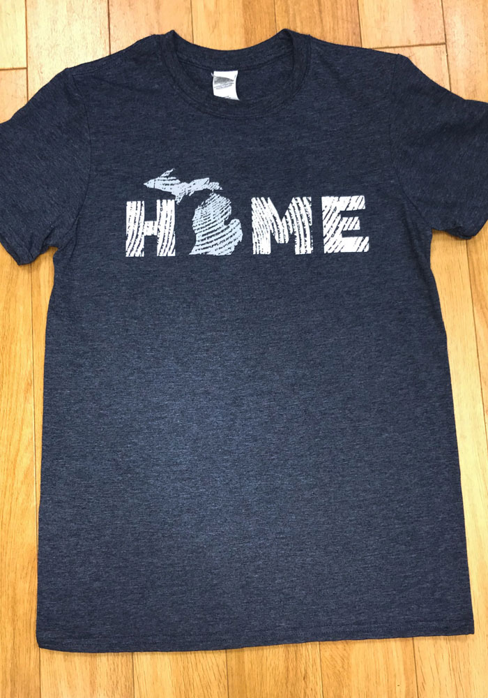 Michigan Navy Blue Wood Grain Home Short Sleeve Fashion T Shirt - Image 2