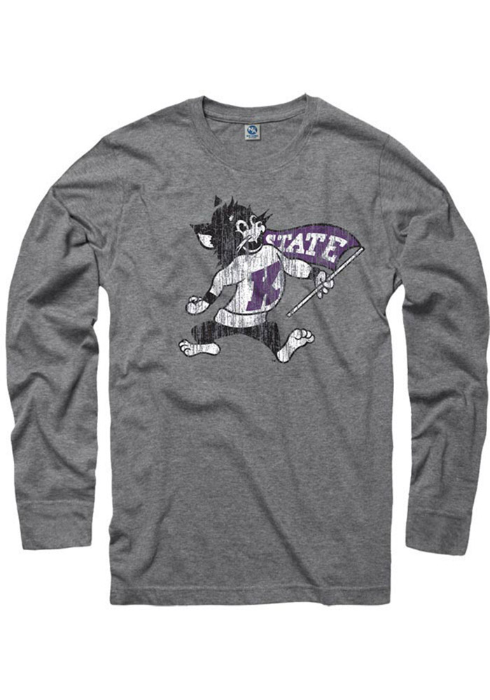K-State Wildcats Grey Distressed Long Sleeve T Shirt - Image 1