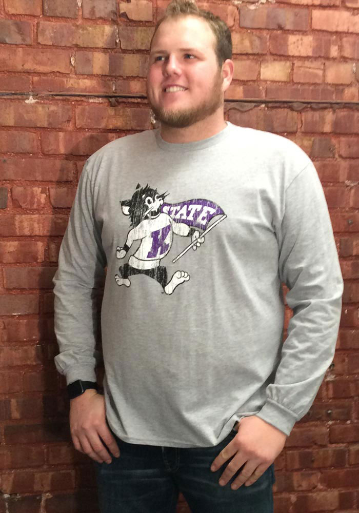 K-State Wildcats Grey Distressed Long Sleeve T Shirt - Image 2
