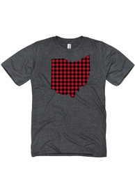 Ohio Dark Grey Buffalo Plaid State Shape Short Sleeve T Shirt