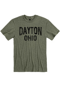 Dayton Olive Green Wordmark Short Sleeve T Shirt