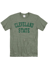 Cleveland State Vikings Snow Heather Team Name T Shirt - Green