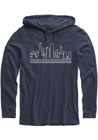 Chicago Navy Skyline Long Sleeve Light Weight Hood