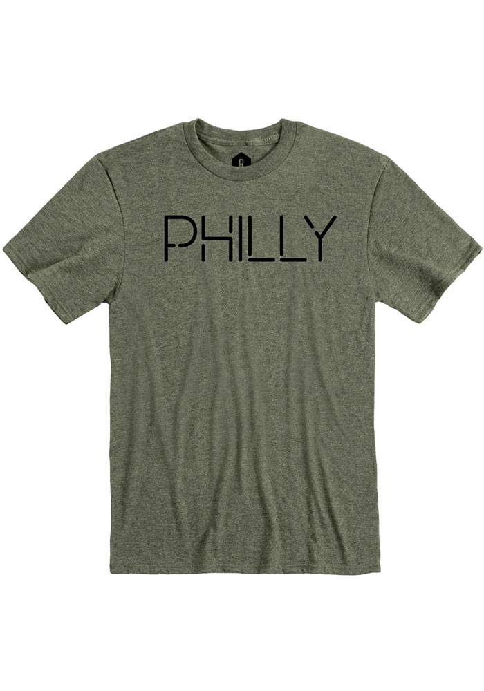 Philadelphia Olive Green Disconnected Short Sleeve T Shirt - Image 1