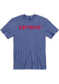Detroit Heather Blue Wordmark Short Sleeve T Shirt