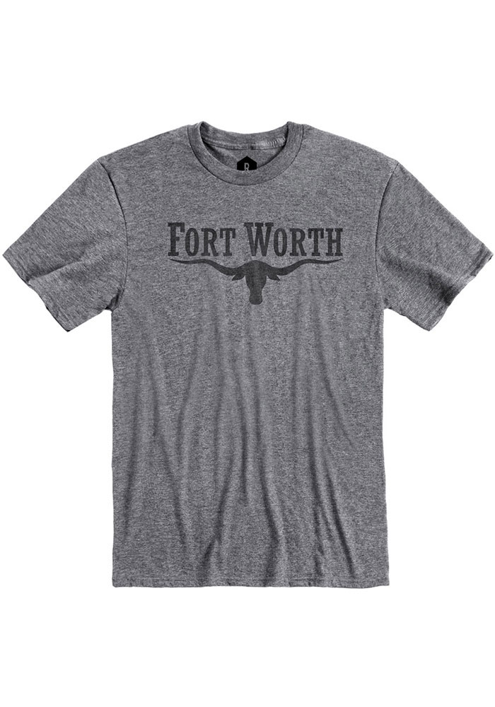 Fort Worth Grey Long Horn Short Sleeve T Shirt - Image 1