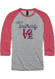 Philadelphia Grey Brotherly Love Raglan 3/4 Sleeve T Shirt