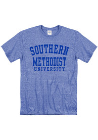 SMU Mustangs Snow Heather Team Name T Shirt - Blue