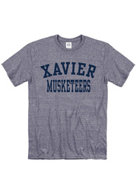Xavier Musketeers Snow Heather Team Name T Shirt - Navy Blue