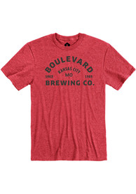 Boulevard Heather Red Arched Logo Short Sleeve T Shirt