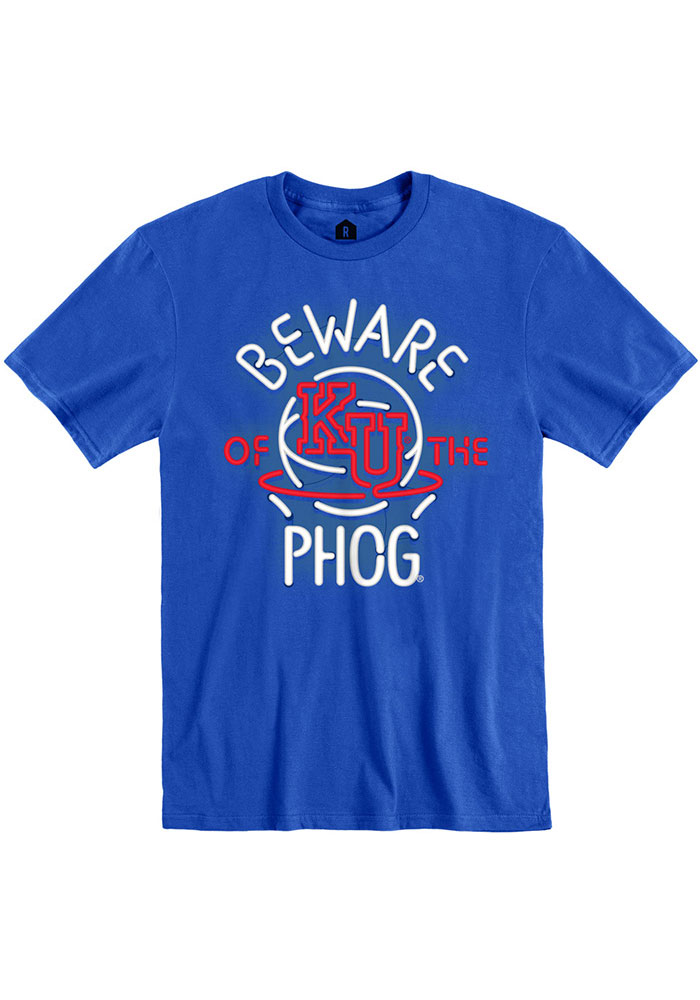 Rally Kansas Jayhawks Blue Beware of the Phog Neon Short Sleeve Fashion T Shirt - Image 1
