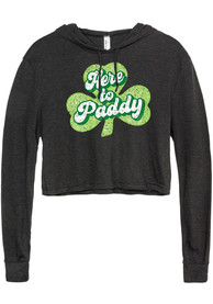 Rally Womens Black Here To Paddy Long Sleeve Cropped T Shirt Hood