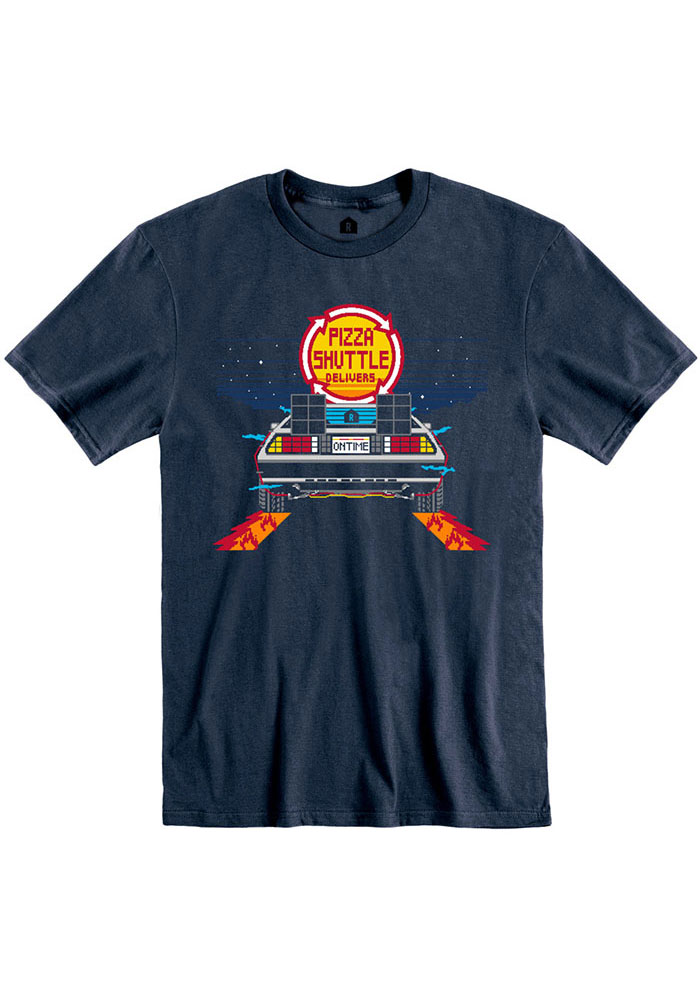 Pizza Shuttle Navy BTTF On Time 80s Pixelated Short Sleeve T-Shirt - Image 1