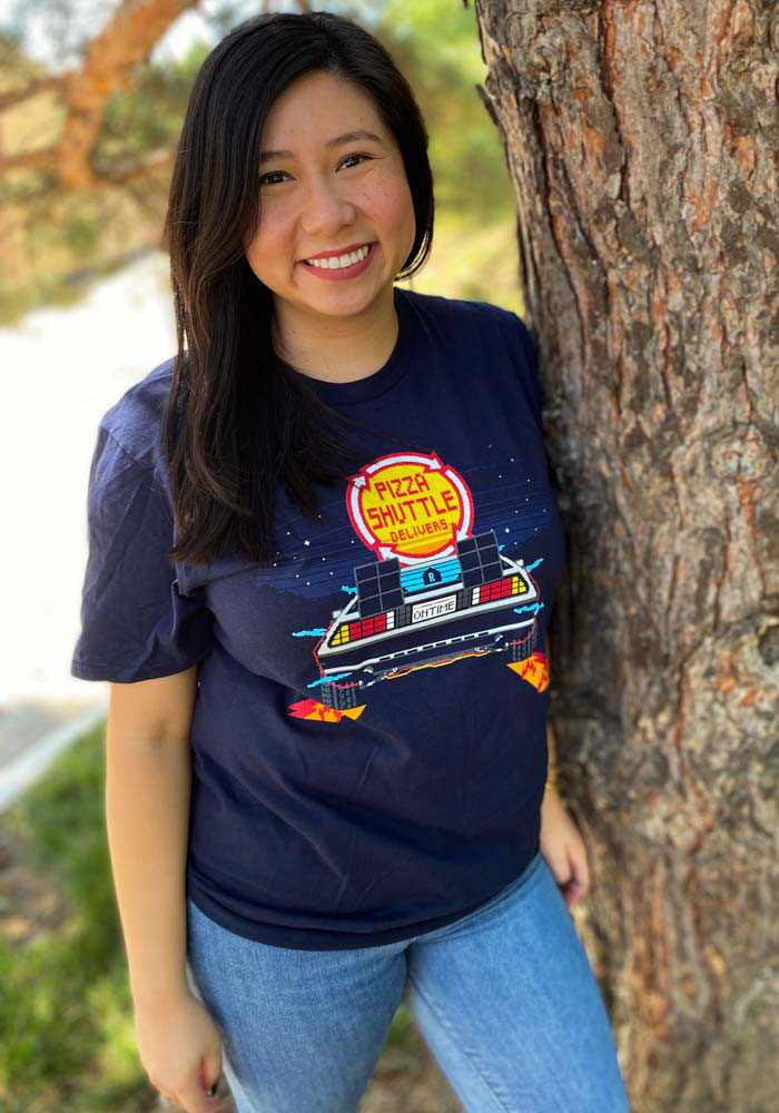 Pizza Shuttle Navy BTTF On Time 80s Pixelated Short Sleeve T-Shirt - Image 2