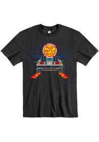 Pizza Shuttle Black BTTF On Time 80s Pixelated Short Sleeve T-Shirt