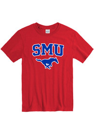 SMU Mustangs Arch Mascot T Shirt - Red