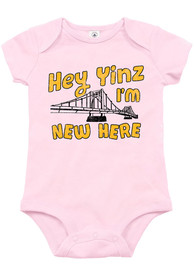 Pittsburgh Baby Yinz Im New Here One Piece - Pink