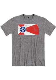 Wichita Graphite Snow Heather City Flag Short Sleeve T-Shirt