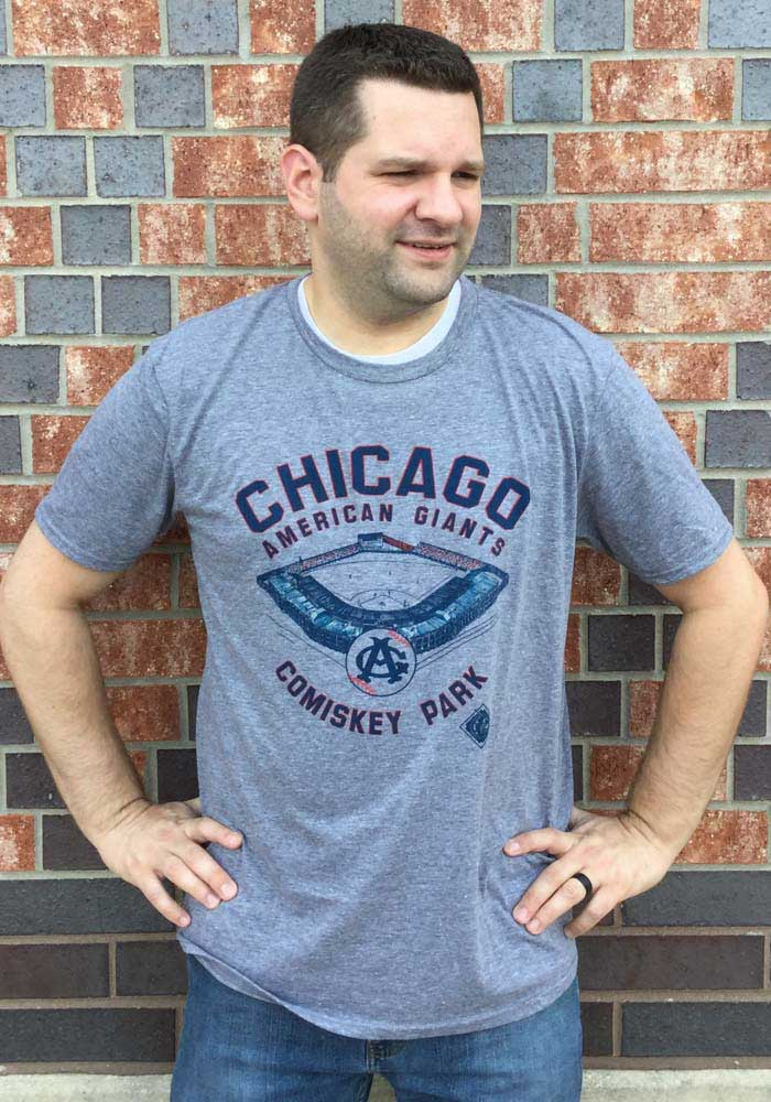 Rally Chicago American Giants Grey Comiskey Park Short Sleeve Fashion T Shirt - Image 2