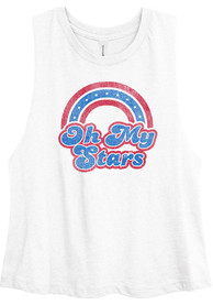 USA Women's White Oh My Stars Cropped Tank Top