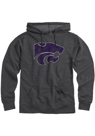 K-State Wildcats Rally Distressed Primary Logo Hooded Sweatshirt - Charcoal